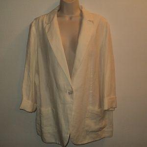 NEW J. Jill Large Jacket Ivory 100% Linen Blazer
